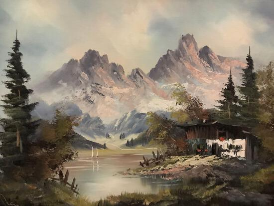 Framed original oil painting of mountain valley. Signed by artist. Approx 31x25 inches.