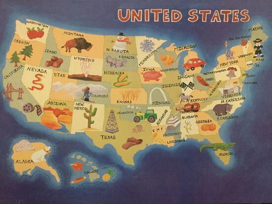 modern canvas print of illustrated map of the United States. Approx 35x25 inches.