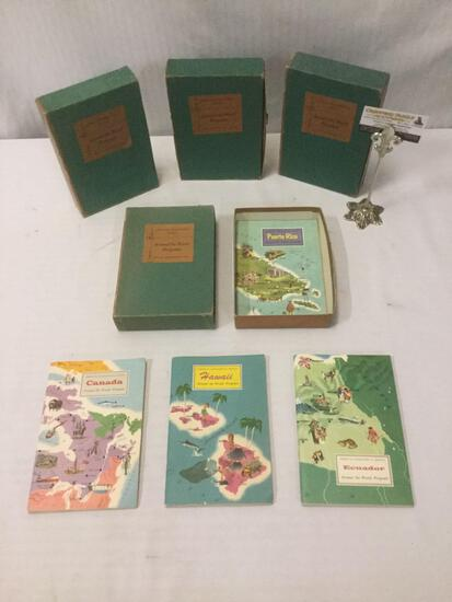 4 vintage Nelson Doubleday Inc. American Geographical Society Around The World programs