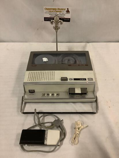 Vintage Aiwa portable reel to reel tape recorder with mic. Untested.