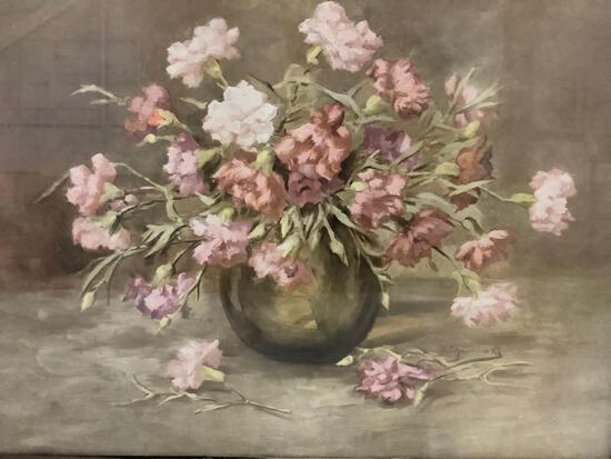 Framed still life print of flowers in vase.
