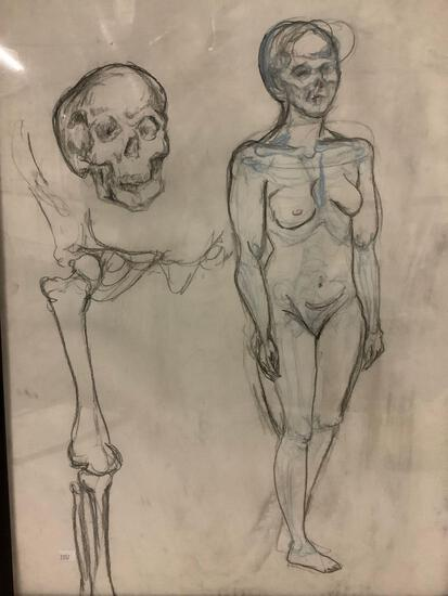 Original charcoal anatomical drawing of woman and skeleton by artist Lyzz Lundberg.