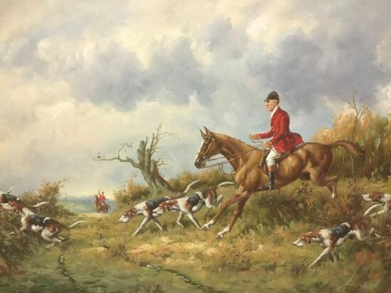 Unsigned framed embellished print(?) of original oil painting of hunter on horse w/ hunting dogs