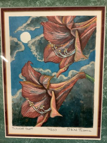 Twilight Duet by K.N. Thomas, signed and numbered 74/100 small framed... watercolor flower print