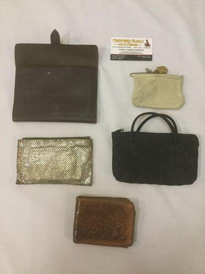 5 assorted purses/wallets & pouches, incl. CLT floral wallet, West CAL 5 wallet, & more.