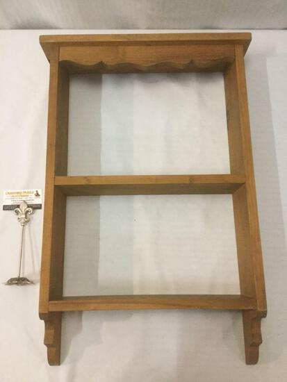 Wooden wall hanging shelf, approx. 29x19x6 inches.