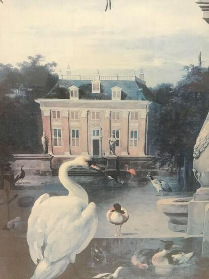 Framed 1994 print of dHondecoeter 17th CE. oil painting -Birds in the Courtyard of a Country Estate-