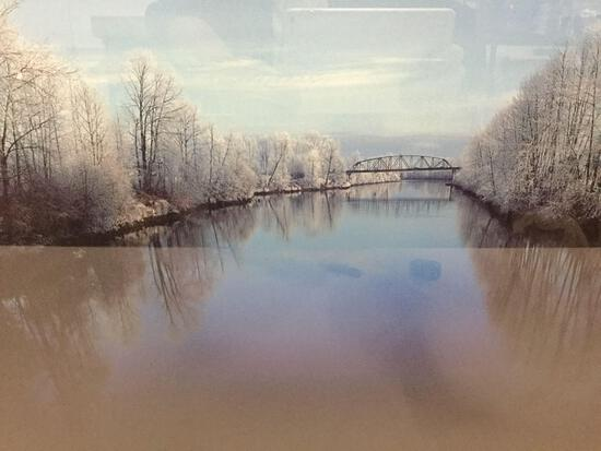 Framed snowy bridge photograph signed by Dale Fishel
