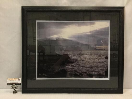 Framed ships at sea w/ dramatic mountain and cloudscape photograph signed by Dale Fishel