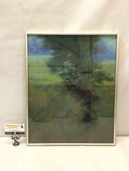 Framed original chalk drawn tree artwork by Jane Fishel