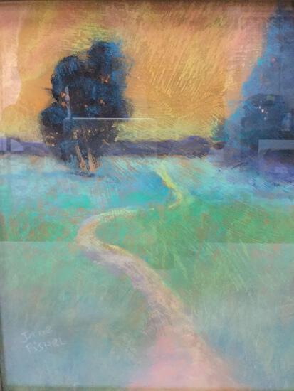 Framed original chalk drawn tree path artwork by Jane Fishel