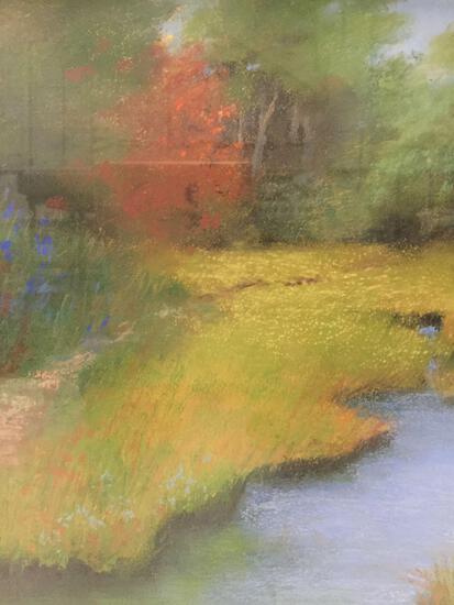 Framed original chalk drawn stream artwork by Jane Fishel