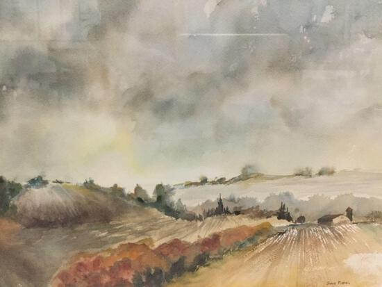 Framed original watercolor landscape artwork by Jane Fishel
