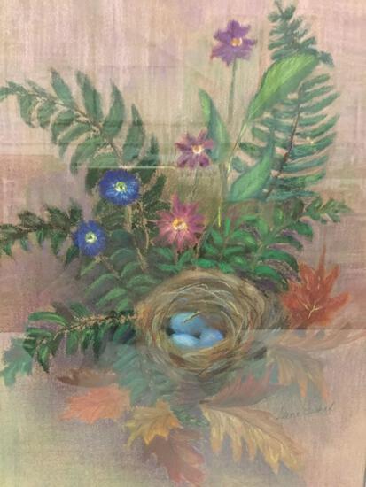 Framed original chalk drawn artwork of bird?s nest by Jane Fishel