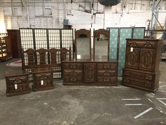5 piece vintage bedroom set: bedframe, tallboy dresser, 6-drawer long boy dresser, 2 nightstands