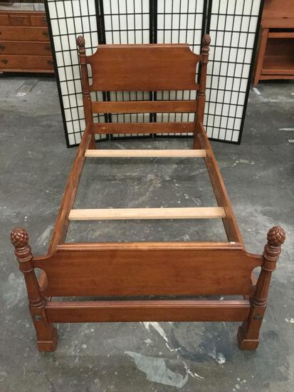 Vintage wood carved twin bed frame, approx 82x41.5x38.5 in.