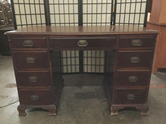 Vintage Maddox Tables 8-drawer leather top desk, approx 24x48x30.5 in.