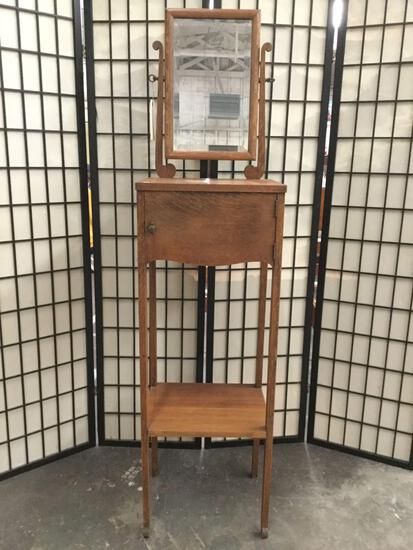 Vintage tiger oak tall shaving stand with mirror & cabinet, approx 13x16.5x64 in