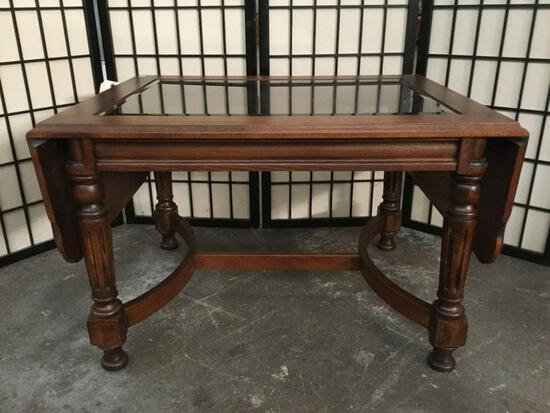 Vintage wood drop leaf coffee table with glass top, approx 24 x 48 x 19 inches