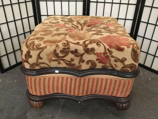 Floral print cushioned wood frame ottoman