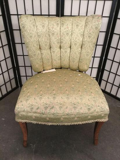 1950's repro Victorian parlor chair w/ floral tufted green upholstery & delicate skirt