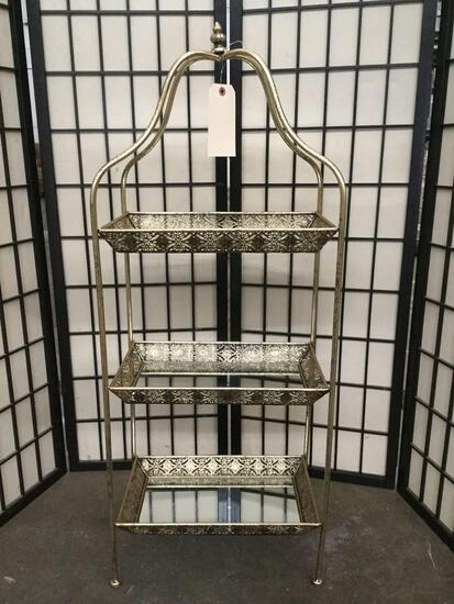 3-tiered tea/desert tray end table w/ mirrored trays & ornate weather gold Victorian design