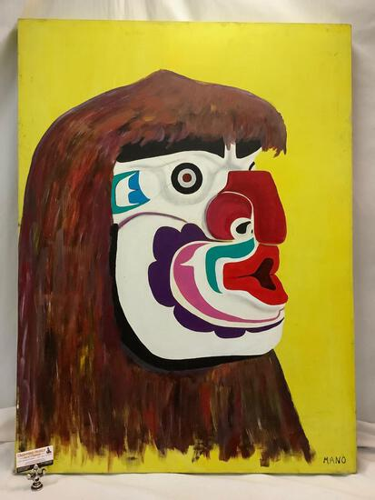 Large original canvas painting of Native American totem figure by Mano