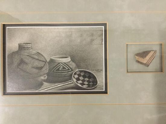 Framed Native American mixed media w/ David Bjurstrom pot artwork & ceramic piece