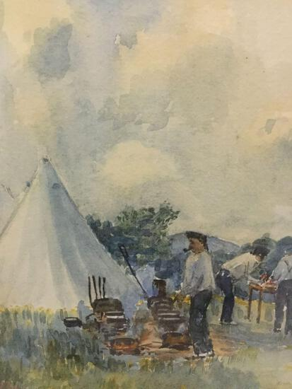 Framed antique original 1882 watercolor - Cooking Dinner - signed by JFM Chow