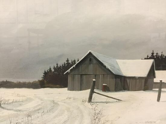 Framed Turpin print of snowy rural cabin scene. Approx. 22x18x1 inches.