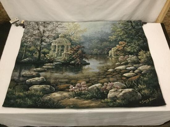 Riddle Home & Gift tapestry of Sung Kim garden scene w/ hanging bar.