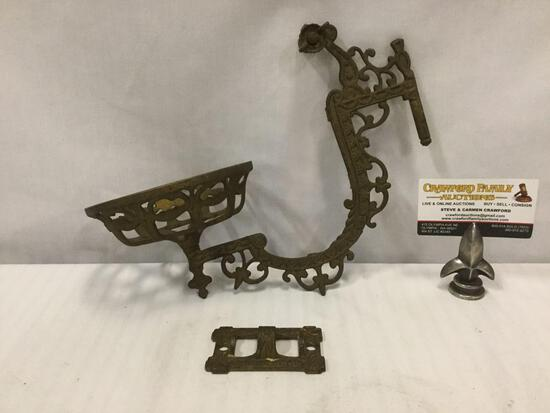 Antique cast brass art deco wall mounted oil lamp or candle sconce