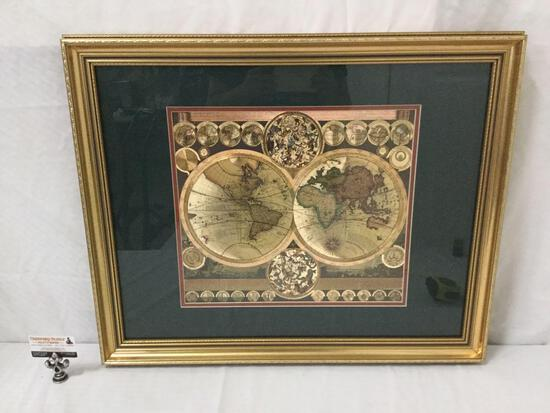 Vintage framed Blaeu style gold foil colored world map in Latin with multiple phases