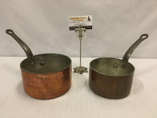 Pair of antique copper and cast iron handled sauce pots - 2qt & 1.25L