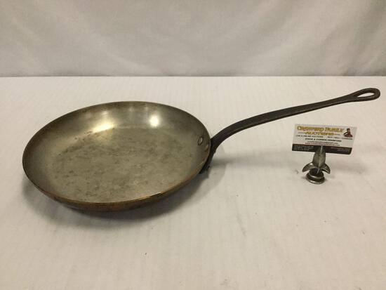 "Antique copper 12"" skillet saute pan with cast iron handle - no makers mark"