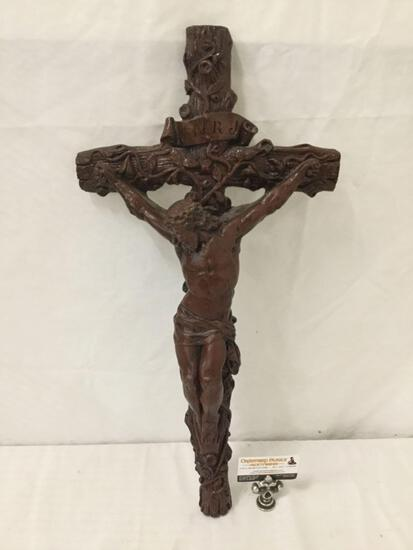 """JNRJ"" Large 27"" wall hanging ceramic Crucifix."