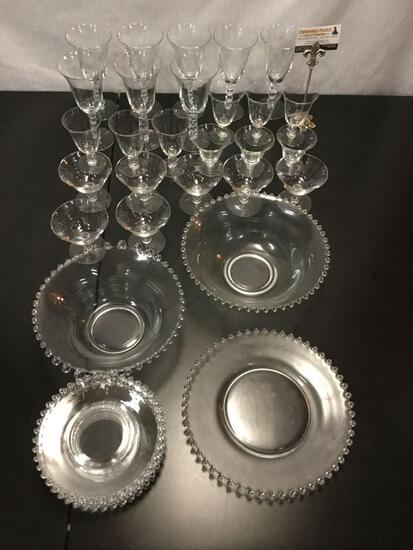 34 pc partial vintage glass plate & wine/cocktail glasses set - beaded design