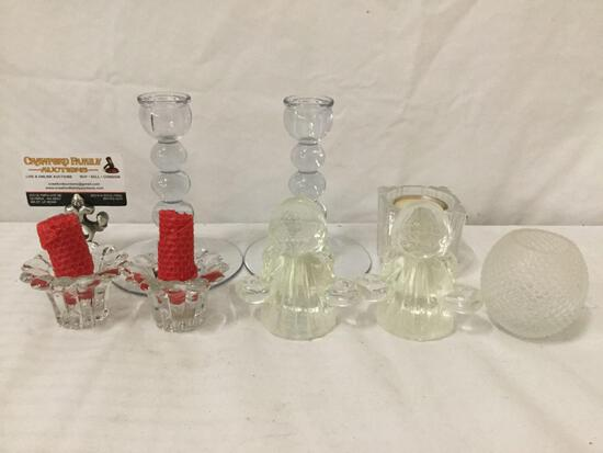 Collection of glass candleholders - 3 pairs 8 pc total: Studio Nova tealight candle holder