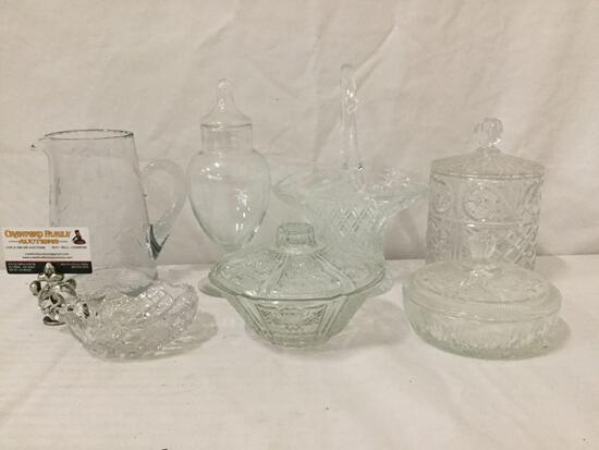 7 pc Crystal and glass decor collection: basket, antique pitcher, & more. Approx. 11x8x6 in.