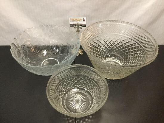 3 pc Punch Bowl lot - 2 pc matching crystal look glass punch bowl set + glass leaf motif bowl.