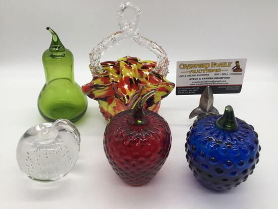5 pc art glass lot - 4 paperweights of fruit, art glass basket w/ multi swirl color design