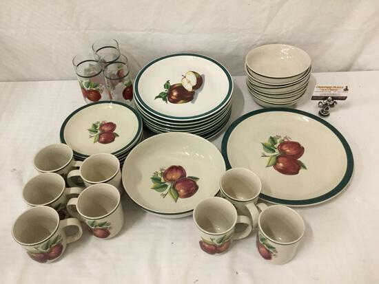35 pc Casual by China Pearl stoneware dinnerware partial service for 6-8