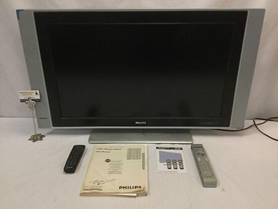 "Phillips LCD Plasma HDTV 32"" w/ remote and manual. Tested & working."