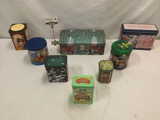 Collection of 8 vintage & modern advertising tins - Starbucks, Borax, Tootsie Rolls