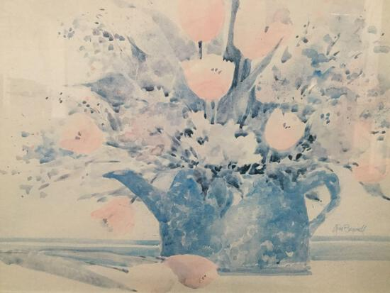 Jini Bunnell Watercolor Floral Print, in professional frame