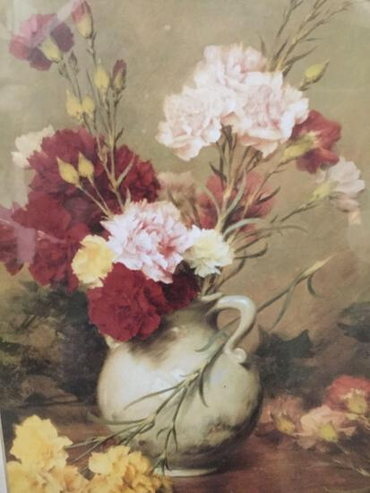 Classic Floral Scene Roses in Vase print, matted and framed