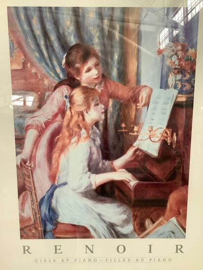 Framed Renoir print - Girls At Piano, approx. 26 x 32 inches.