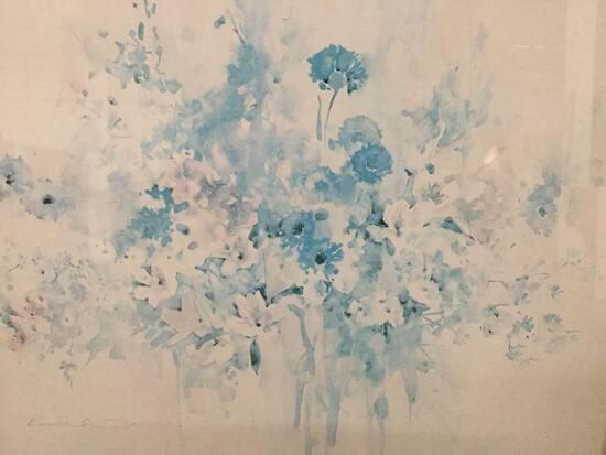 "Abstract ""water spotted"" floral impressionist print by Rosalie(?) O in professional frame"