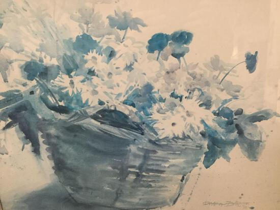 Impressionist blue tone watercolor floral print by Dayna(?) D. 81' in professional frame