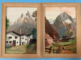 2x vintage framed original Austrian Alps mountain/village scene paintings signed by Volz